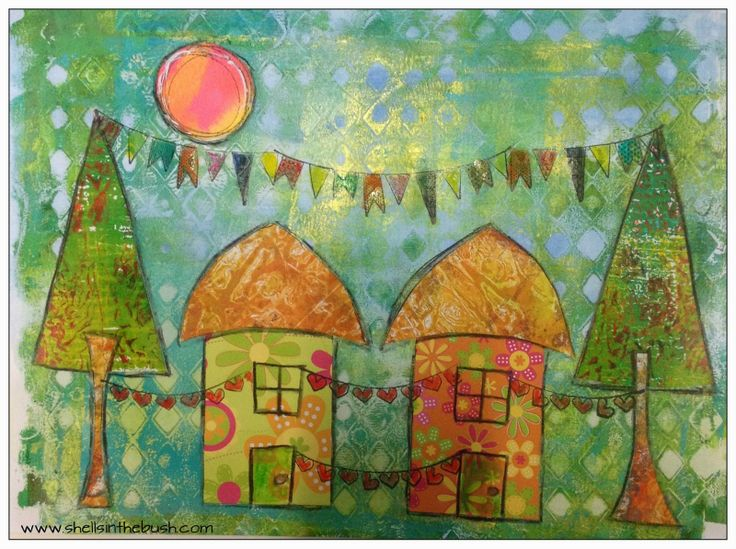 Documented Life Project - May 24, 2014 - Week 22 Challenge - Draw, paint or sketch a house.  I used a gelli print for the background, trees ...