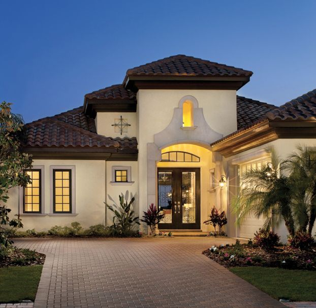 Mediterranean tuscan style home house home exteriors for Tuscan roof design