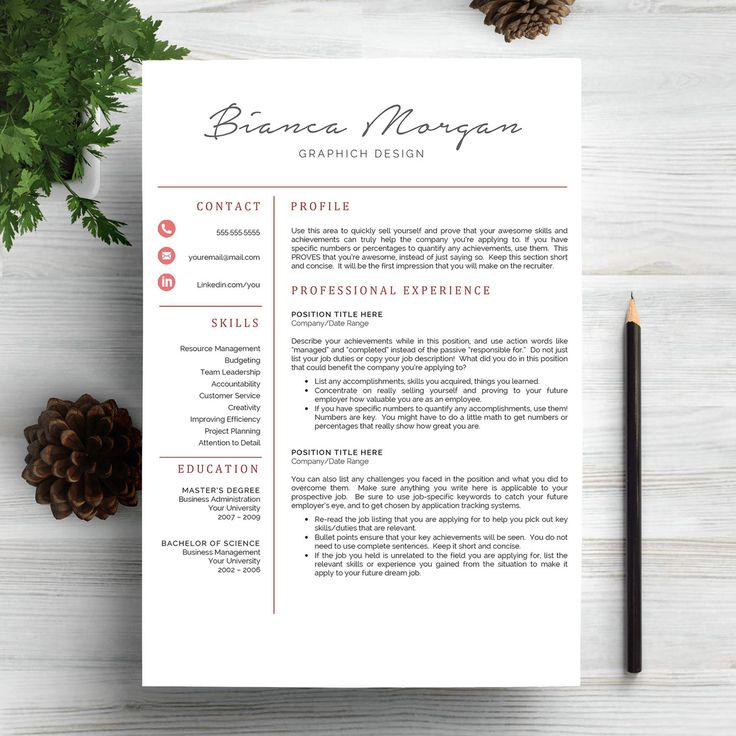 Creative Resume Template for Word and Pages | 1, 2 and 3 Page Resume Template + Cover Letter + Icons | Creative CV Template, Modern Resume by MyResume on Etsy
