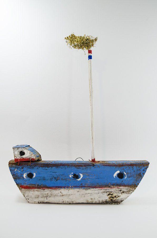 Ξύλινα Καράβια : Χειροποίητο επίτοιχο καράβι από ξύλο βαρελιού κωδ.0170011