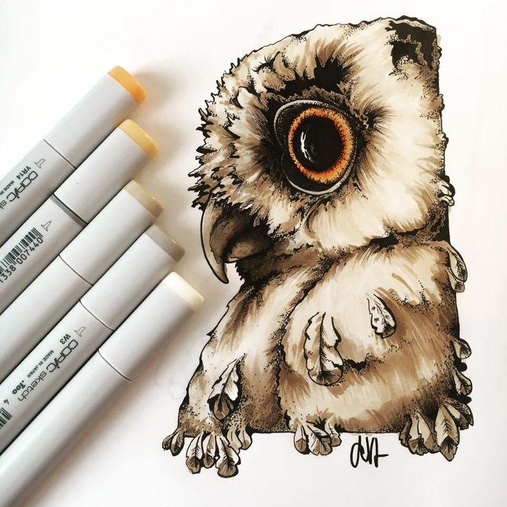Illustartion = #owl #copic #drawing #montanasketchliner #illustration #bird #nature
