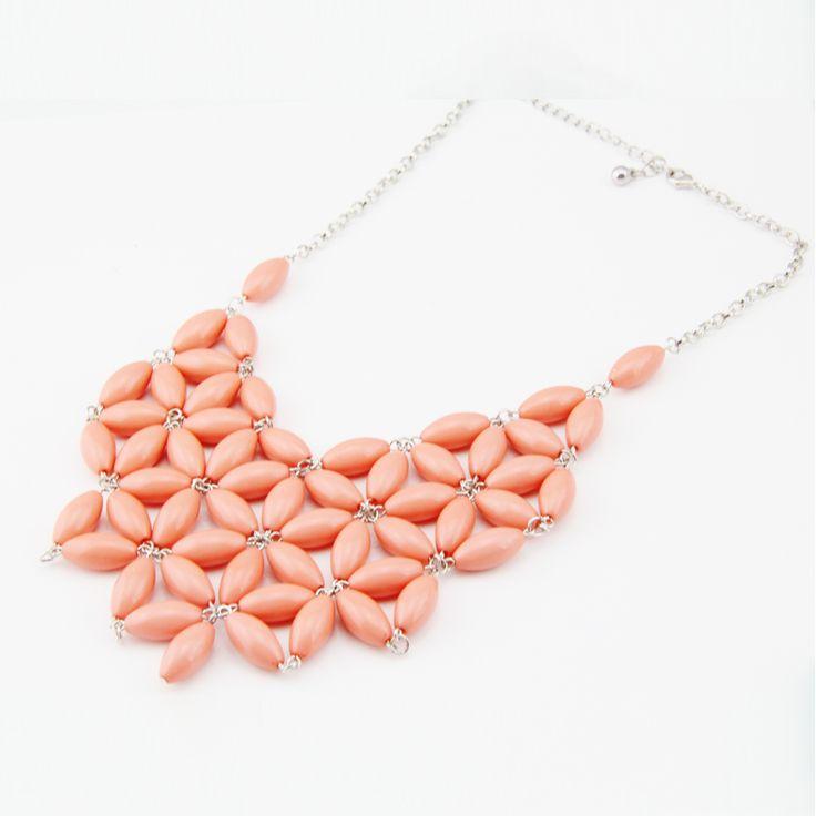 Livraison gratuite bulle. collier plastron déclaration couleur corail perles collier femmes dans de sur Aliexpress.com