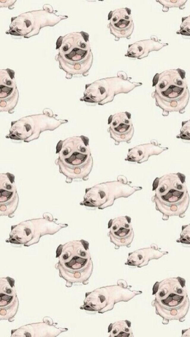 Pugs 640 x 1136 Wallpapers - pugs dogs puppies pattern. Tap to see more Apple iPhone HD wallpapers! - @mobile9