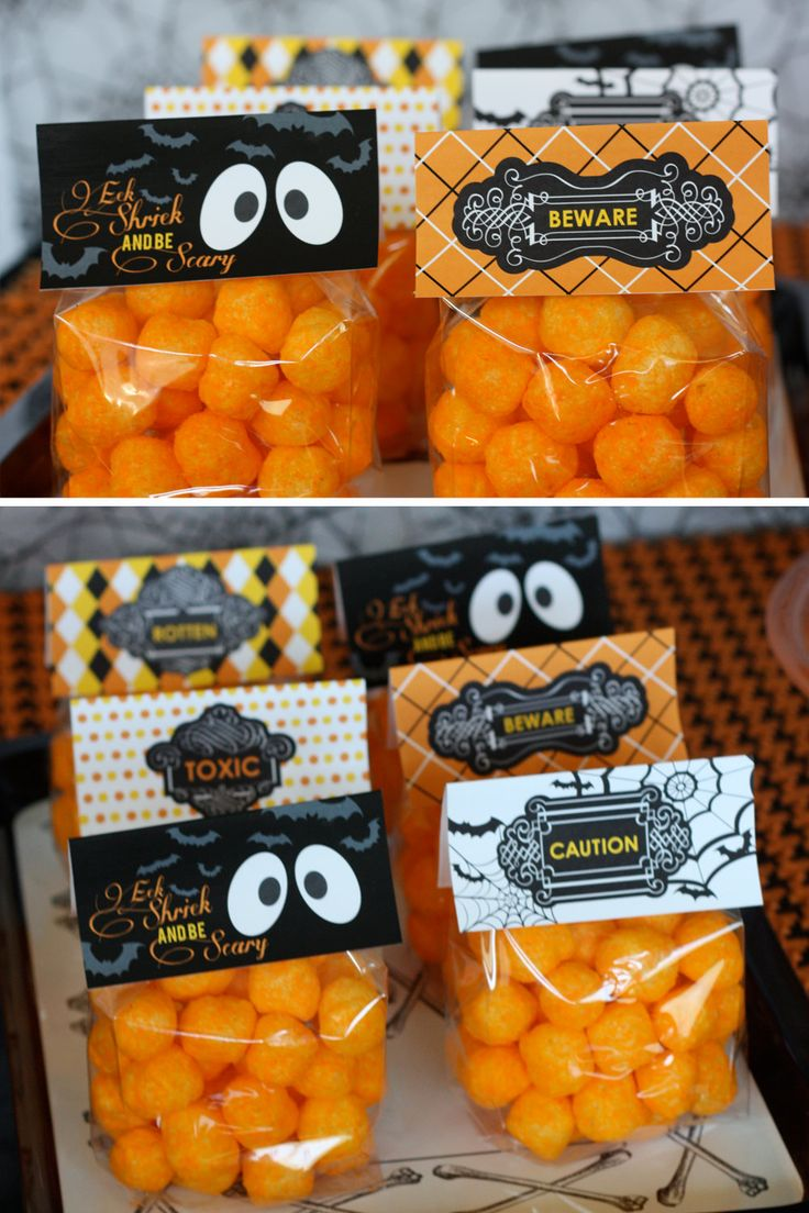 "Like the idea of bagging cheese balls to be ""Pumpkin Poop"". cute for classroom celebration....could also do cheetos"