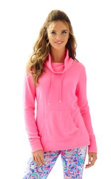 Hillary Draped Neck Pullover - Lilly Pulitzer Flamingo Pink
