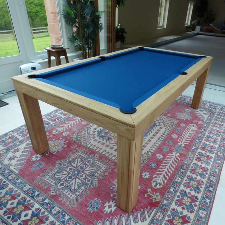 7' Contemporary Pool Table. Oak 0 Finish with a