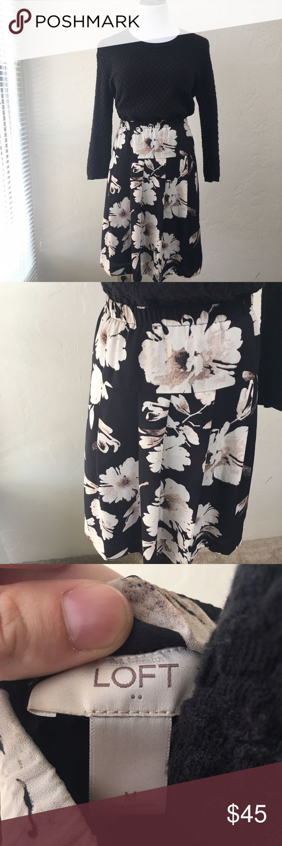 Floral Skirt Fully lined floral skirt with elastic waist. In excellent used condition. Measurements only by request. Can fit a L as well. Sweater is also listed for sale in separate listing. From factory store. LOFT Skirts