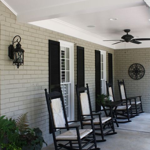 "Oh, Brick me!:   White window trim, painted porch ceiling. Brick wall Benjamin Moore ""sandy Hook Gray"" BM"