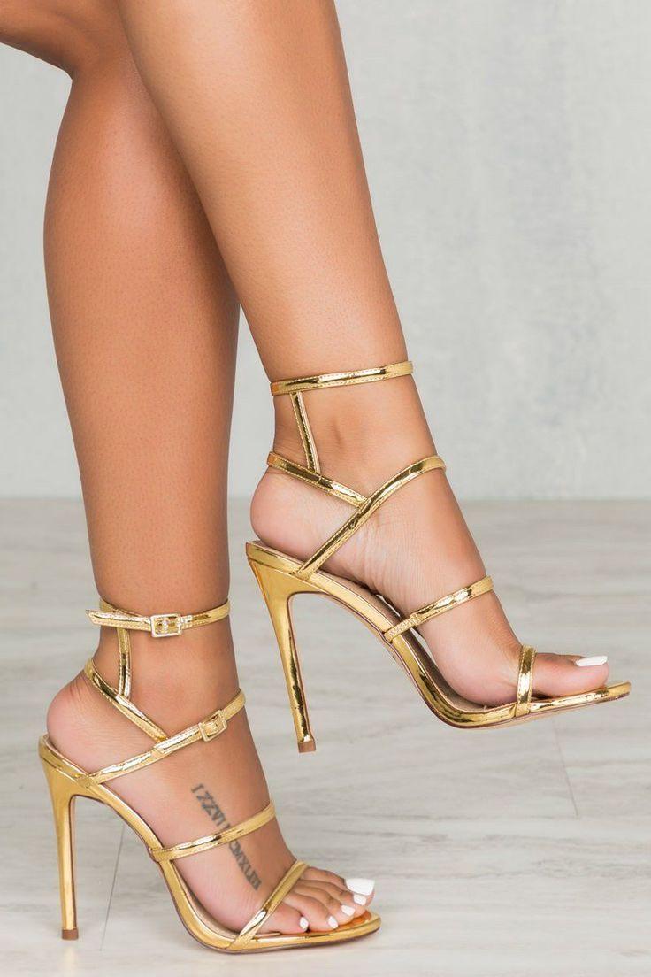 Gold Strap Heels #goldstilettoheels