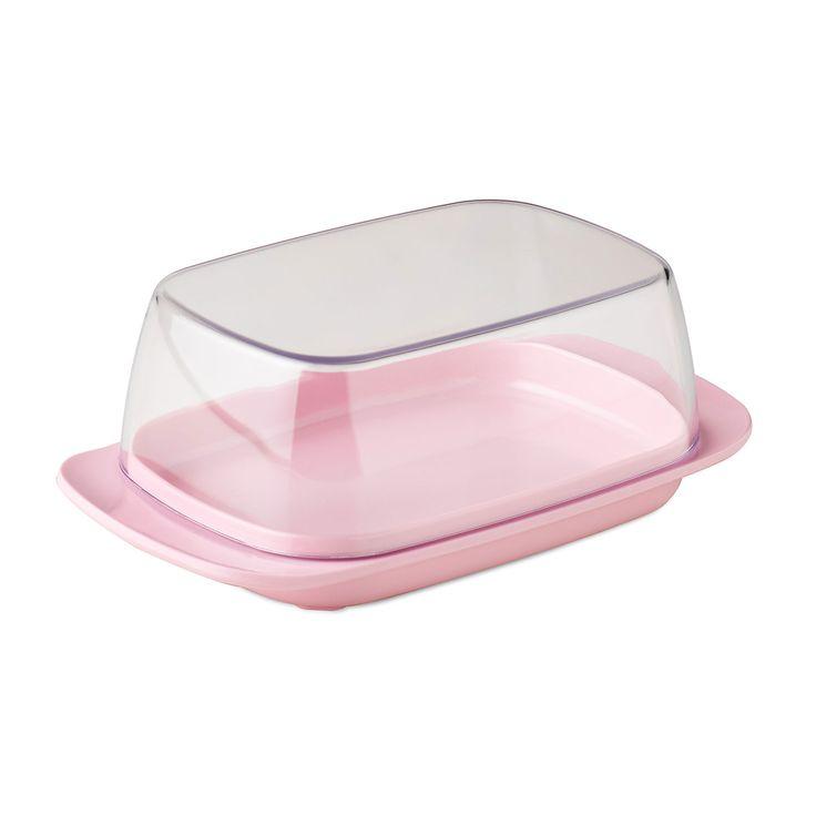 Retro pink botervloot met deksel. Boter of roomboter wordt hygiënisch bewaard met deze roze botervloot van Rosti Mepal. Zowel binnen als buiten praktisch voor op tafel, tijdens het ontbijt of de lunch en geschikt voor 250 gram boter. Afmeting: 17 x 10 x 6 cm - Botervloot - Retro Pink