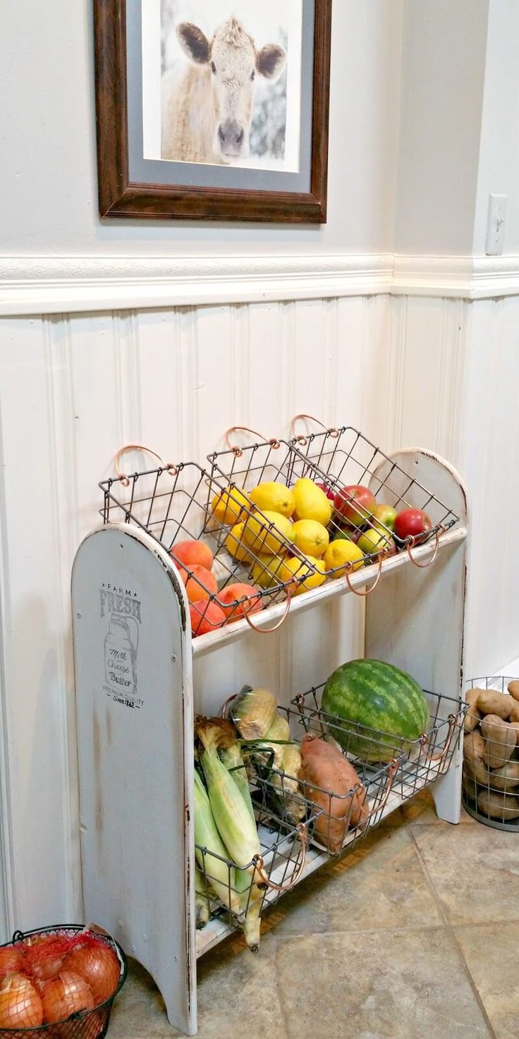 Antique Produce Shelf with Wire Baskets - could do this with shelf that old VHS tapes are on now