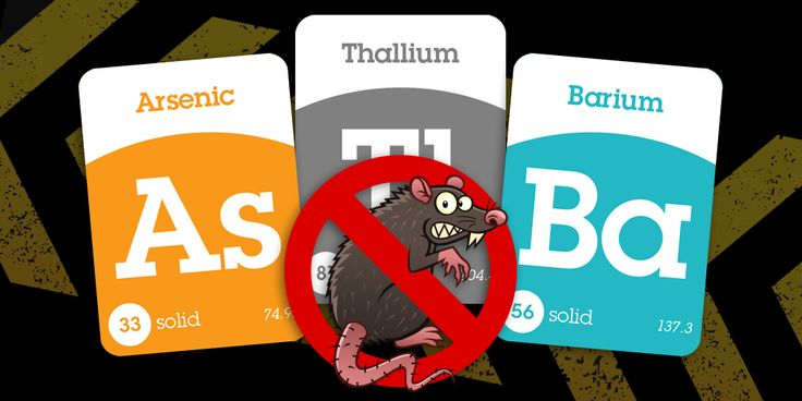 Ingredients in rat poisons used to include arsenic, barium and thallium. Using these chemical elements was discontinued because they were deemed to be too toxic for humans.