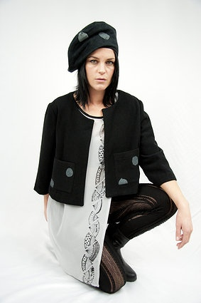 Love Hotel. S/S 2012. French Fan dress with Cropped Jacket with spot print pockets and lace tights.