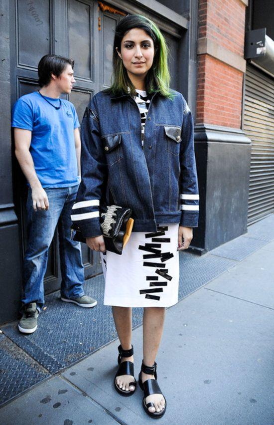 dress, oversized denim jacket, sandals