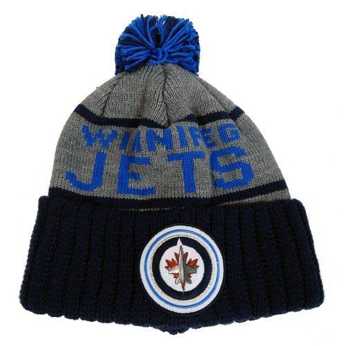 """Winnipeg Jets Mitchell & Ness NHL """"The High 5"""" Vintage Cuffed Knit Hat w/ Pom by Mitchell & Ness. $24.00. Mitchell & Ness wordmark embroidered on back. Multi-colored pom. Jacquered team name. Team logo patch on cuff. 100% acrylic winter beanie cap"""