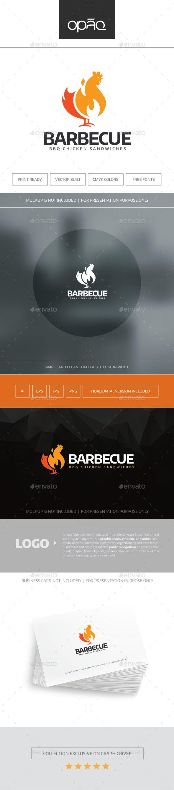 BBQ Chicken  Logo Design Template Vector #logotype Download it here: http://graphicriver.net/item/bbq-chicken-logo/16058884?s_rank=1645?ref=nexion