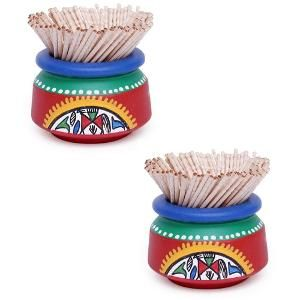 ExclusiveLane Terracotta Hand Painted Warli Toothpick Holder Set of 2 Red