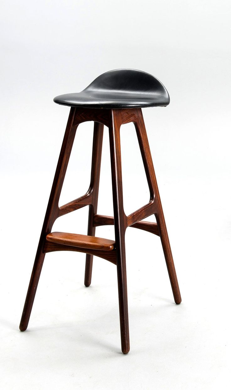 Set of two rosewood and black leather tall stools model OD 61, designed by Erik Buck and manufactured by ...