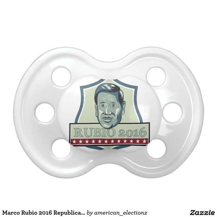 Marco Rubio 2016 Republican Candidate BooginHead Pacifier. Illustration showing Marco Rubio, an American senator, politician and Republican 2016 presidential candidate set inside shield crest with words Rubio 2016 done in retro style. #Rubio2016 #retro #illustration