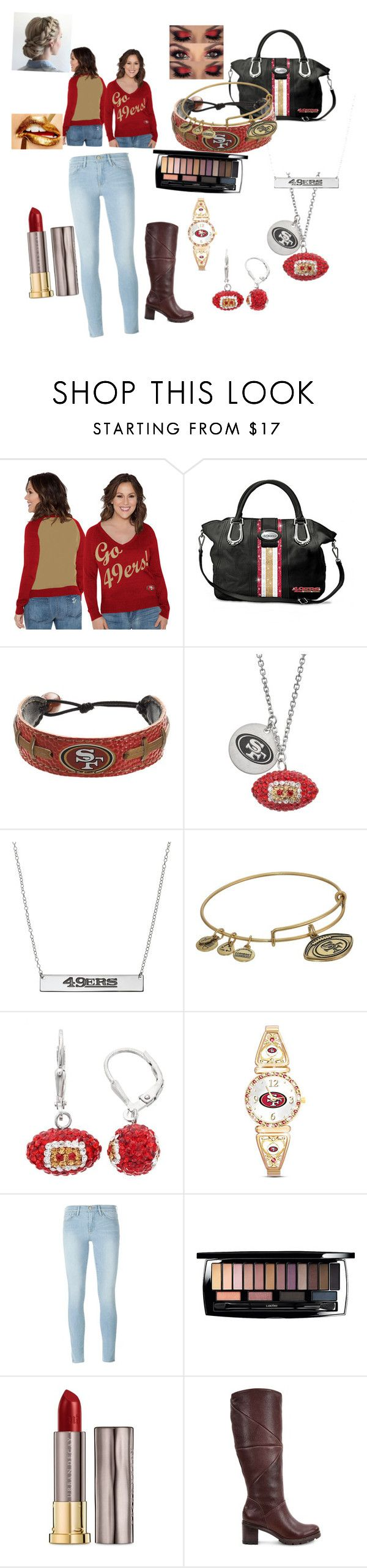 """Team Pride🏈 #SanFransisco49ers"" by channerriley ❤ liked on Polyvore featuring Touch by Alyssa Milano, The Bradford Exchange, GameWear, Alex and Ani, Frame Denim, Lancôme, Urban Decay, UGG and plus size clothing"