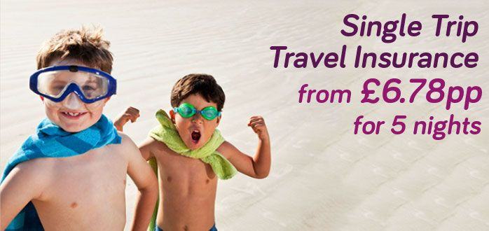 Single trip travel insurance from £6.78 for 5 days.
