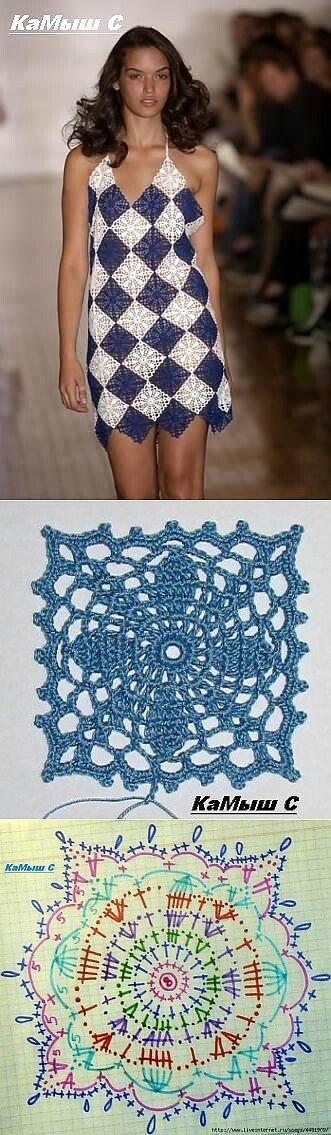 Quadrado pra croche vestidos