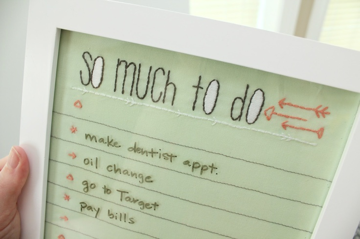 Embroidered To Do List Tutorial.Embroidery Hands, Hands Embroidered, Diy Crafts, Gift Ideas, Embroideryhand Stitches, Crafty Schmafti, Crosses Stitches, Pictures Frames, Stitches Tutorials