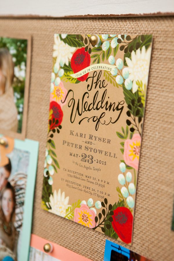 boho or folk wedding decor - Minted Floral canopy foil pressed wedding invitation