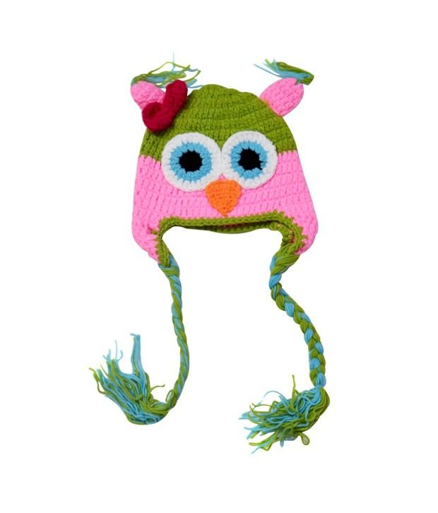 Pink And Blue India Pink Cotton Woolen Cap