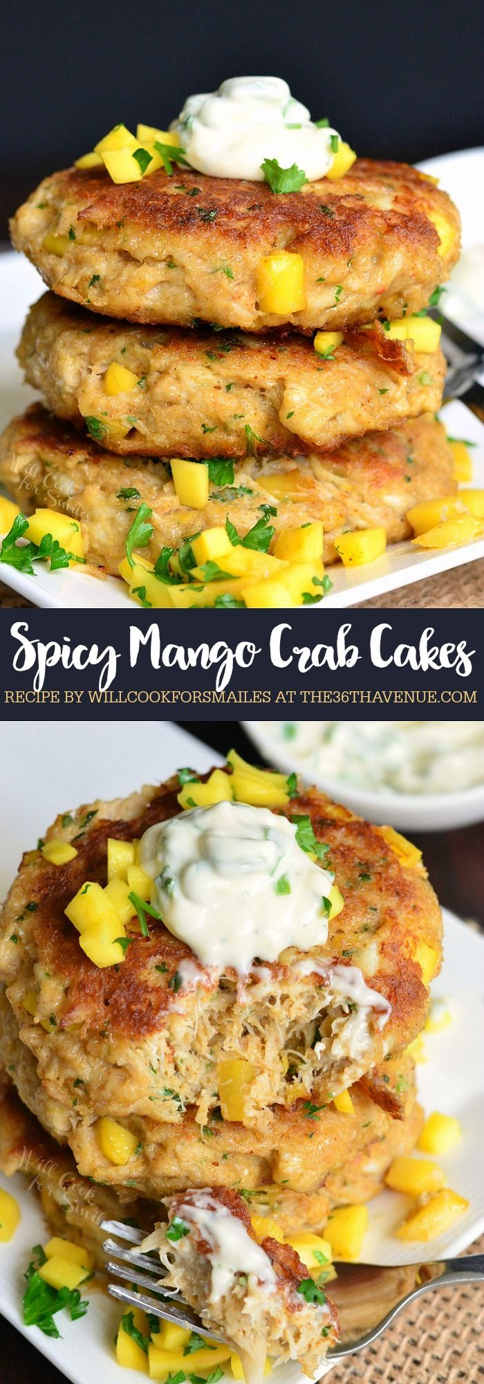 Spicy Mango Crab Cakes Recipe. These delicious crab cakes are made with fresh crab, sweetened with fresh mango, and served with sweet and spicy creamy sauce.
