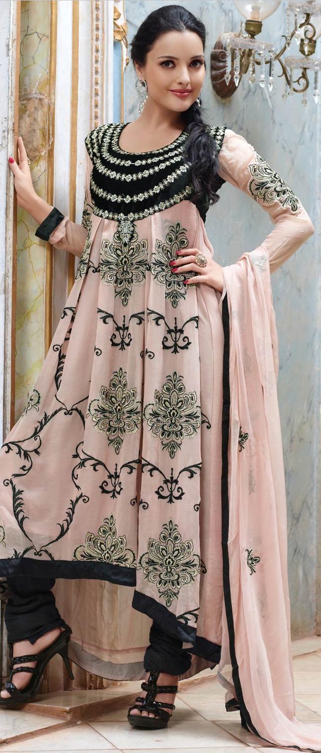Light Peach Faux Georgette Churidar Kameez @ $104.39 | Shop @ http://www.utsavfashion.com/store/sarees-large.aspx?icode=khs163