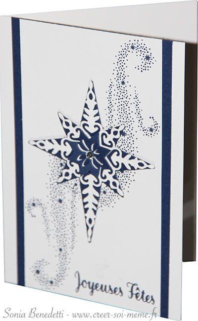 """Voici la seconde création pour vous inspirer pour cette journée mondiale de la carterie: Elle est réalisée avec les poinçons thinlits """"étoiles brillantes"""" (réf 141840 à 35€) et le set de tampons """"étoile lumineuse"""" (réf 143142 à 31€) que vous pouvez acheter..."""