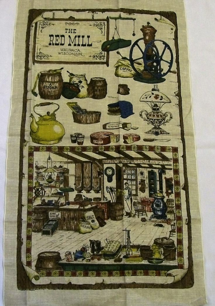 Vintage Tea Towel, Old Time Store, The Red Mill, Waupaca Wisconsin, NOS, Country Store, Warm Tones, Vintage Kitchen by VintagePlusCrafts on Etsy