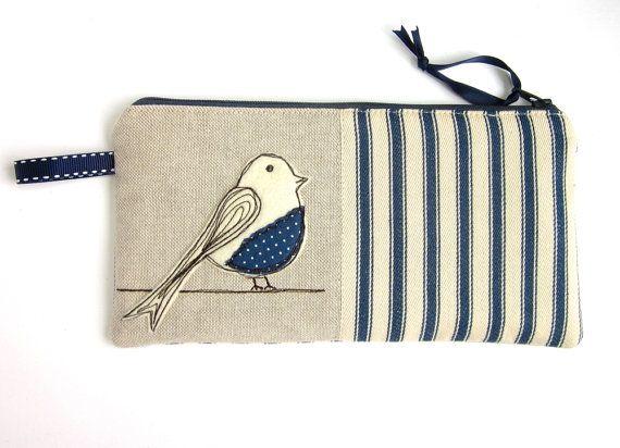 Large Pencil Case, Zip Pouch, Blue Bird, Blue Stripes  $22.29