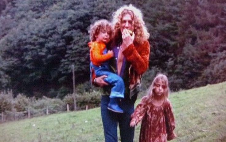 Robert Plant with his daughter Karmen & son Karac (youngest son Logan not pictured) that he had with ex-wife Maureen Plant. The tragic death of Karac at age six from a stomach flu changed Robert Plant...& Led Zepplin...forever. GREAT article.