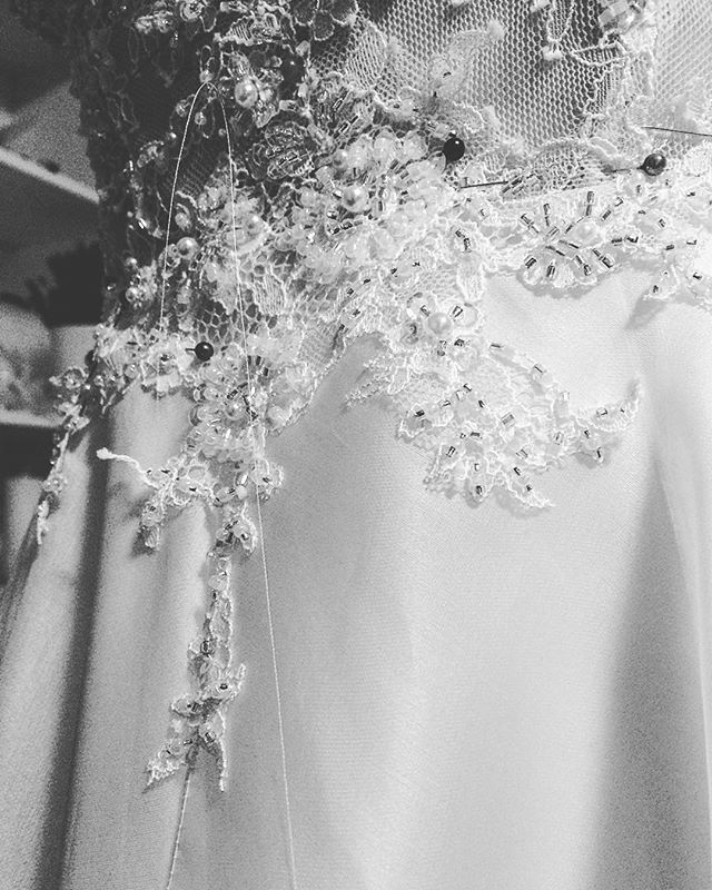 """""""I seek perfection so we invest all of our effort, dedication and passion into what we create. ✨ #handmade #lace #weddingdress #workinprogress #lacedress #details #luxurywedding #perfection #love #dedication #madetomeasure #couture #dreams #life #happiness #gown #gold #blush #weddingphotography #weddinginspiration"""" by @dimatelier.official."""