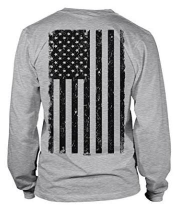 Men's Long Sleeve Tee with BIG Black American Flag Design