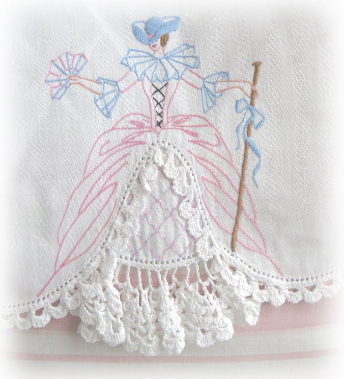 embroidered linen with doily crochet
