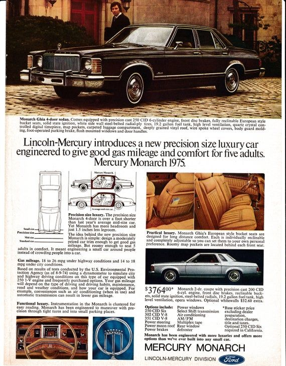 1975 Mercury Monarch Good Mileage Seats Five Original Magazine Ad In 2020 Mercury Ford Granada Mercury Cars