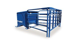 This galvanized powder coat creep feeder is a great way to provide continuous feed to calves. The addition of calf pass panels restricts access by cows.