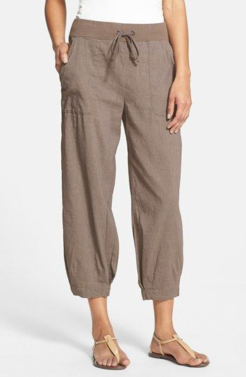 Free shipping and returns on Eileen Fisher Slouchy Stretch Linen Capri Pants at Nordstrom.com. A slightly rumpled stretch-linen blend shapes breezy capris styled with a stretch-knit, drawstring waist, loose-cut legs and banded hems.