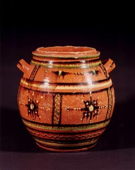 Moravian Sugar Bowl redware Bethbara, North Carolina circa 1810 9 inches high 5 3/4 inches wide