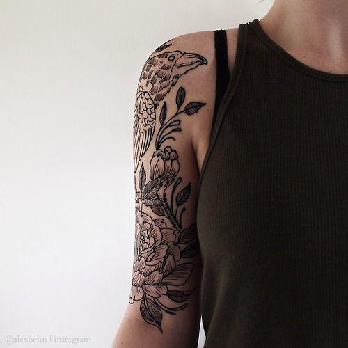 #tattoo #arm #ink #flower #raven
