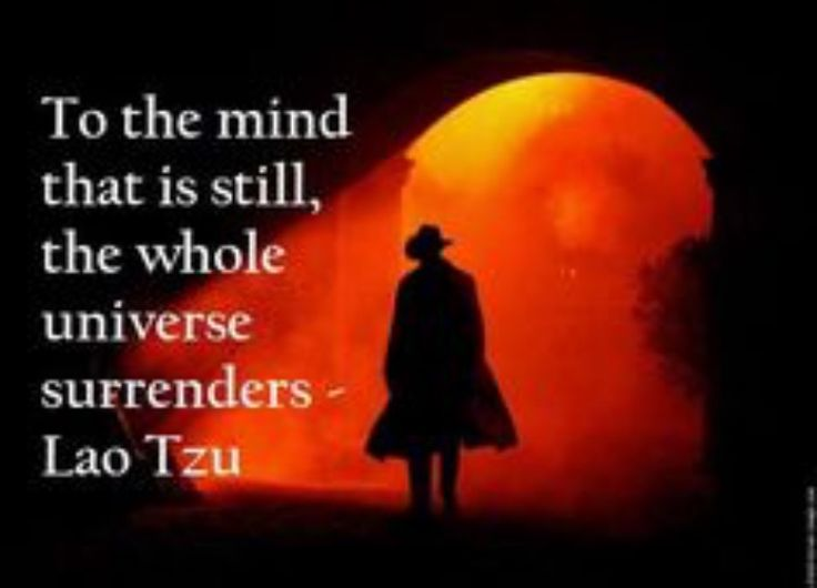 To the mind that is still, the whole Universe surrenders - Lao Tzu