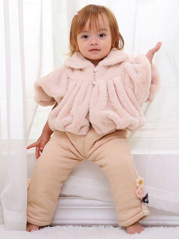 Naturally Colored Cotton Baby Girls Jacket Casual Warm Plush Infant Outerwear Baby Girl Coat Type:Outerwear & Coats Height: 73, 80, 90, 100, 110 cm
