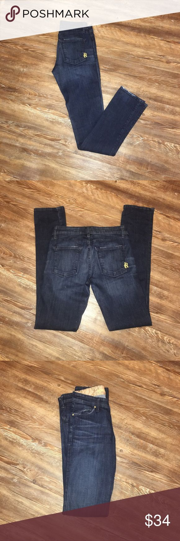 Women's 27 Dark wash Rich & Skinny Jeans✨ These are a must have!! So cute and they go with everything!! Dark wash. Rich & Skinny. Size 27. In good condition!! ***Little worn on the bottom of one leg!!  (P78) 👖😍✨🔥 Rich & Skinny Jeans