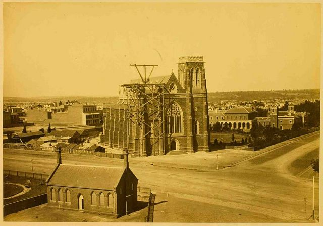 Albumen print photograph of St Patrick's Cathedral, Melbourne, under construction during the 1870s. Charles Nettleton is likely to have been the photographer