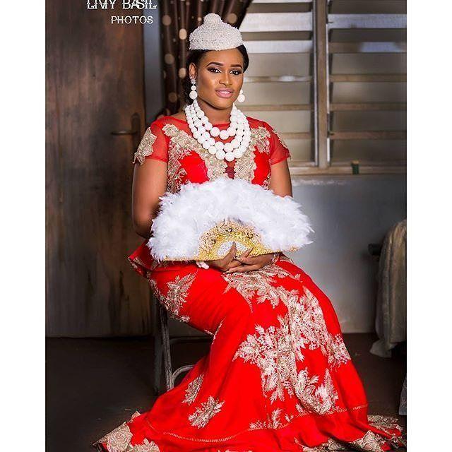 Igbo bride inspiration photography @liviy_basil_prod accessories/handfan by @urezkulture #igbobride #beads #reddress #instagram                                                                                                                                                                                 More
