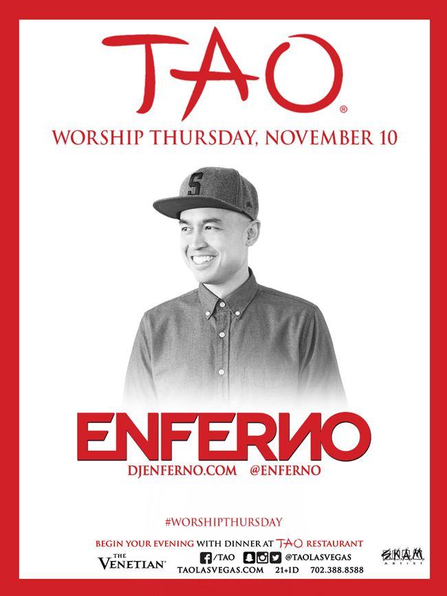 Enferno returns to Tao Nightclub in Las Vegas for industry Thursday. Join the event by getting on the Tao guest list for free and be ready to party.
