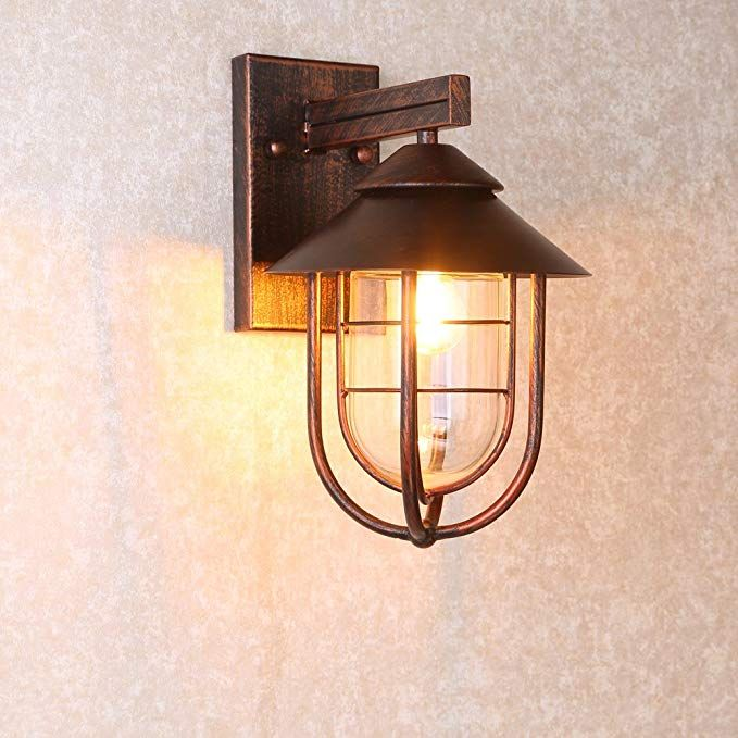 Jiuzhuo Industrial 1 Light Metal Cage Clear Glass Shaded Nautical Indoor Outdoor Wall Light In Antique C Indoor Wall Lights Wall Lights Copper Outdoor Lighting